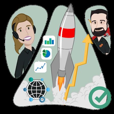 A cartoon drawing of Simplicate team members monitoring a website launch