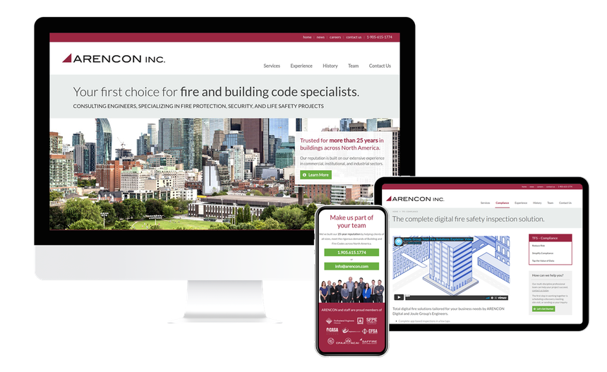 Views of the Arencon website on multiple screen sizes