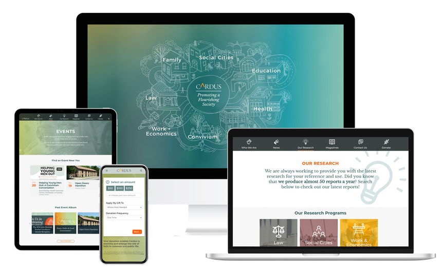Views of the Cardus website on multiple screen sizes