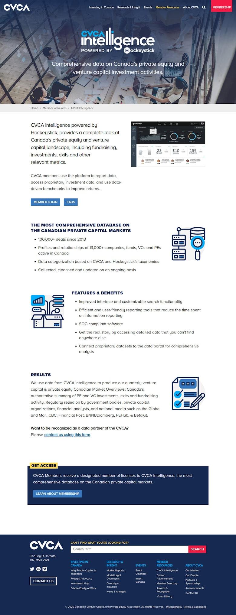 CVCA Intelligence Landing Page