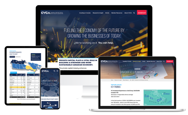 Screenshots of the CVCA website on multiple devices
