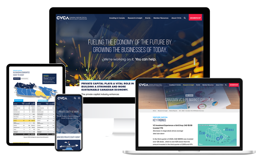 Views of the CVCA website on multiple screen sizes