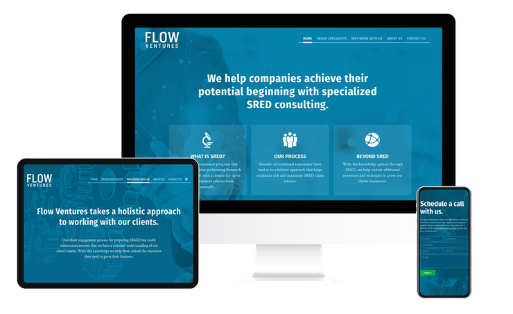 Screenshots of the Flow Ventures website on multiple devices