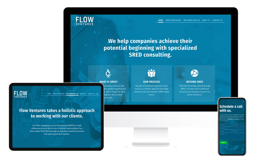 Views of the Flow Ventures website on multiple screen sizes