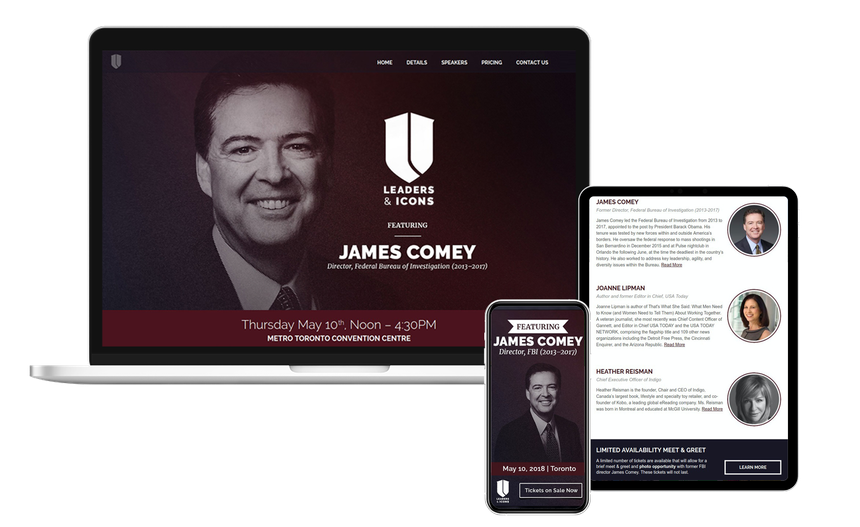 Views of the Leaders & Icons website on multiple screen sizes