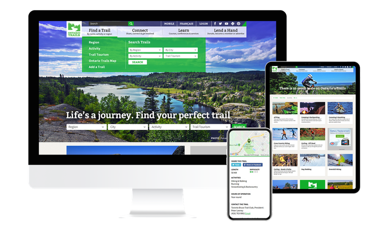 Screenshots of the Ontario Trails website on multiple devices