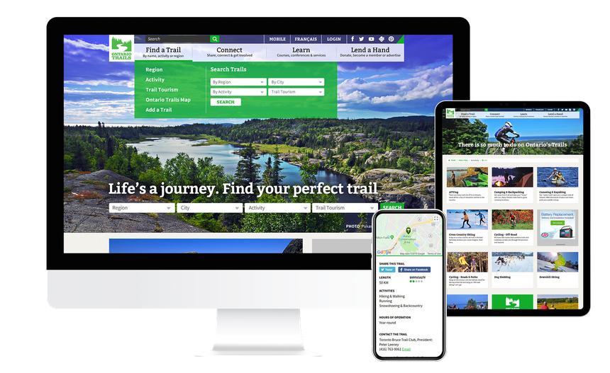 Views of the Ontario Trails website on multiple screen sizes