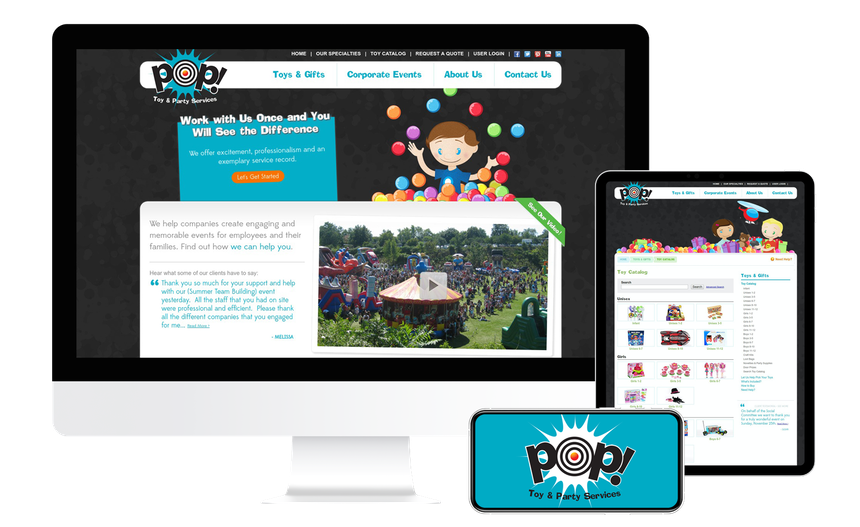 Views of the PopToys website on multiple screen sizes